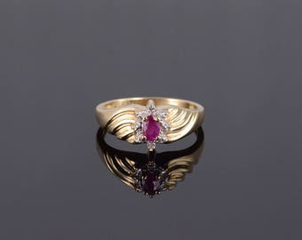 10k Ruby Diamond Marquise Starburst Halo Grooved Ring Gold