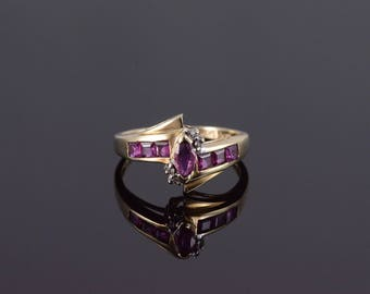 10k Ruby Diamond Marquise Princess Bypass Ring Gold