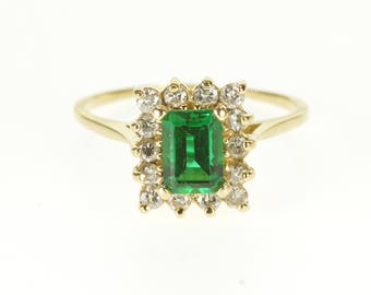 14k 1.42 Ctw Emerald* Diamond Halo Statement Ring Gold
