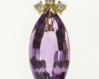 14k 8.26 Ctw Fantasy Marquise Amethyst Diamond Accent Pendant Gold