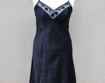 Vintage black slip, 1980s, UK size 12