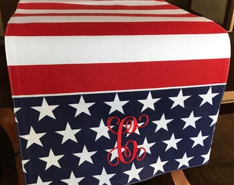 Monogrammed Table Runner | July 4th Stars Table Runner | 4th of July Stars and Stripes Table Runner