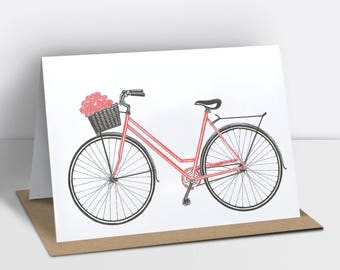 Bicycle greetings card with a basket of flowers (risograph printed)