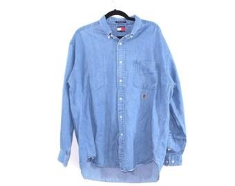 90s Tommy Hilfiger Crest Logo Denim Jean Button Shirt Mens Large Blue, Vintage Tommy Hilfiger Denim Shirt, Vintage Denim Shirt, Jean Shirt