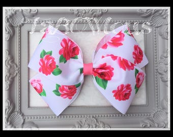 Large 5 inch White Floral Ribbon Basic Boutique Bow