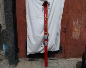 Vintage Wooden Ski & Bamboo Ski Poles - Made in BULGARIA