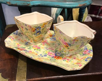 "Royal Winton Grimwades Ivory ""Floral Feast"" Chintz Cream and Sugar Set"