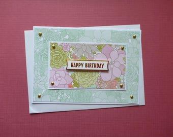 Fresh and Pretty Birthday Card  FREE SHIPPING