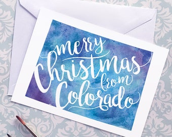 Colorado Map Christmas Card, Colorado Watercolor Greeting Card, Merry Christmas from Colorado Lettering, Gift, Postcard, Map Art Card, Print