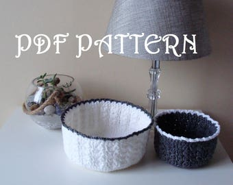 Crochet Baskets PDF Pattern Two Sizes