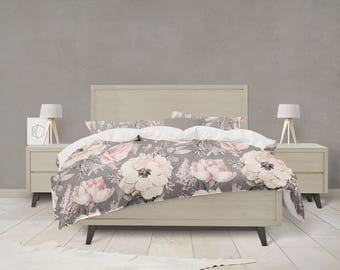 Grey and Pink watercolor floral duvet cover