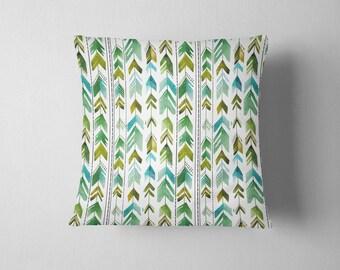 Watercolor Arrows - Green throw pillow