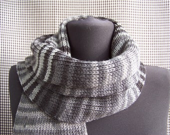 chunky long warm knitted wool striped gradient shades of gray and black scarf cool gift for a cool season gift