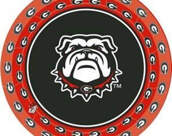 "Official Georgia Bulldog 7"" Plates. / 8 Count"