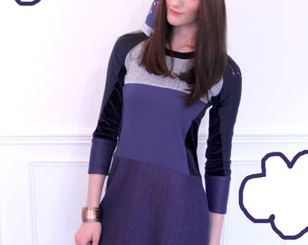Dress long sleeves with cut-outs. Navy Blue and purple