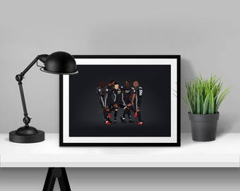 Lingard, Pogba, Lukaku, Martial & Young Milly Rock Manchester United Illustrated Poster Print | A6 A5 A4 A3