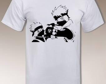 Kakashi older vs young t shirt, Cool Naruto design for Men