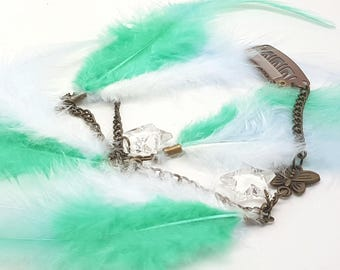 Festival Fairy Feather Hair Extension Clip with Star and Butterfly Charms - 10 inch