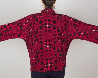 Kimono Jacket, Silk Kimono, Red and Black Kimono Jacket, Kimono Cardigan, Kimono, Unique Clothing, Summer Kimono, Short Kimono, Cardigan