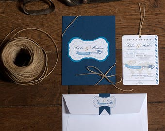 Retro travel passport wedding invitation