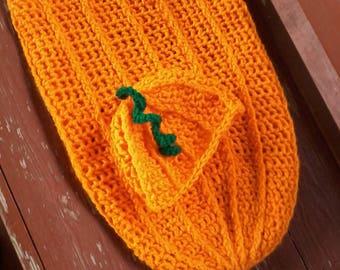 Baby pumpkin cocoon & hat photo prop for baby
