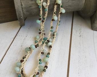 Grace, Amazonite Gemstone and Seed Bead Crochet Strand Necklace and Wrap Bracelet
