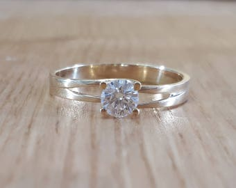 14K Gold and Diamond Engagement Ring, Solitaire Ring, Diamond Ring, Diamond Engagement, 0.30 ctw, Pave Diamond, custom made, bridal jewelry