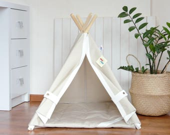 Pet teepee with poles and mat, dog teepee, cat teepee, dog house, cat house, dog bed, cat bed, dog collar, pet tent, summer outdoor
