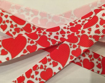 "Hearts 5/8"" Grosgrain Valentine Ribbon"