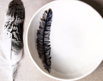 RESERVED - Small porcelain feather bowl