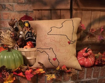 State to State, Long Distance, Map Pillow, Throw Pillow, Moving Gift, College Gift, Housewarming Gift, Wedding Gift, Custom Gift