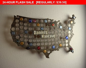 24 Hour Flash Sale USA Beer Cap Map Display Holder with 3D Personalized Standout Name