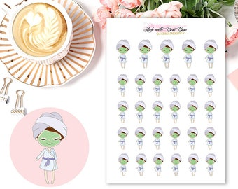 Amelie kawaii SPA/FACIAL DAY planner stickers || Erin Condren Life Planner, Kikki K, Plum Paper Planner