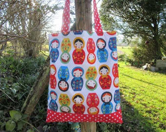 Library bag tote bag, reversible bag, Russian dolls polka dots, red, multicolor