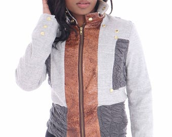 Waist length Sweat with leather trimmimg