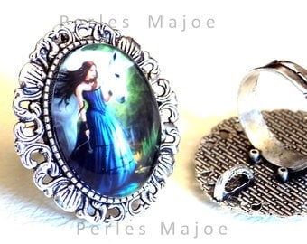 Ring holder decorated antique silver with cabochon glass 18 x 25 mm