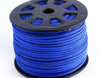 3 meters of suede cord 3 mm blue color