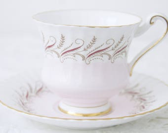 Vintage Paragon Bone China Cup and Saucer, Soft Pink, England