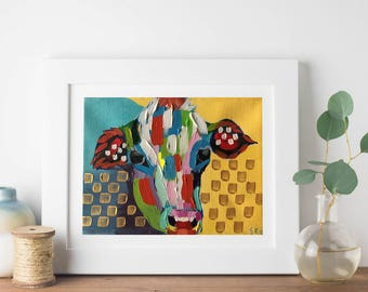 """Abstract Cow Acrylic """"5X7"""" Gallery Wrapped Canvas 