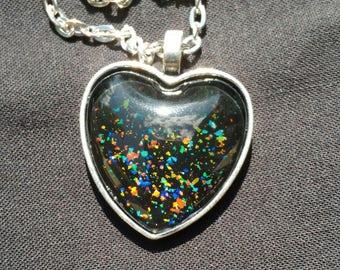 Rainbow Flakie Necklace Heart Shaped Pendant
