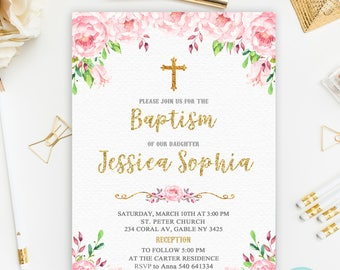 Floral Baptism Invitation, Pink and Gold Baptism Invitation Printable, Pink Floral Christening Invitation, Girl Christening Invitation