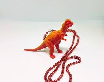 Dinosaur Necklace Red Ball Chain Red and Orange Dinosaur Jewelry Gifts 5 and Under