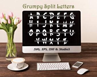 Grumpy Split Letters in .SVG .EPS .DXF & .Studio3 formats Craft Cut Die Cutters Digital Vector Files Instant Download