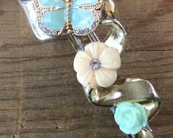 Fairy Hair, Repurposed Vintage, Butterfly, barrette