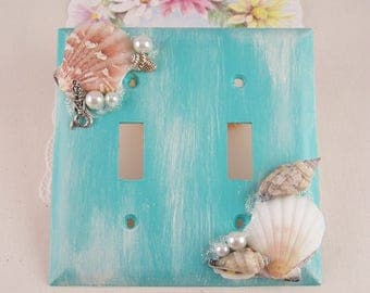 Double Light Switch Plate Cover Outlet Sea Shell Mermaid Switch Plates Distress Painted Switch Plates Girls Beach Bath Home Decor Lighting