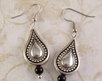 Black Onyx Earrings, Silver Earrings, Black Earrings, Teardrop Earrings, Black Onyx Jewelry Boho Earrings Dangle Earrings, Gifts for Her