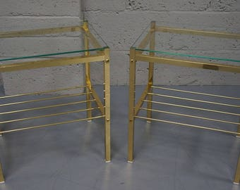Vintage Pair of Brass & Glass Coffee Tables