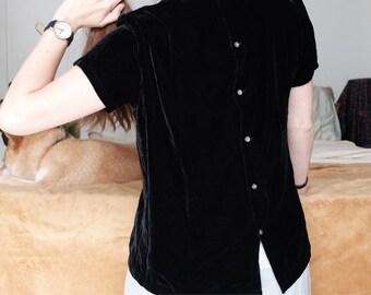 Black Velvet Silk Blend Ann Taylor Blouse Buttons on Backside Size 6