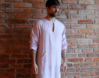 Linen Djellaba Mens Linen Kaftan Linen Caftan Man Loungewear Long shirt Light Pink Linen Robe Linen Beach wear Ready to ship Medium to Large