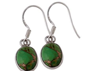 sterling silver Earring with Green Copper Turquoise gemstone